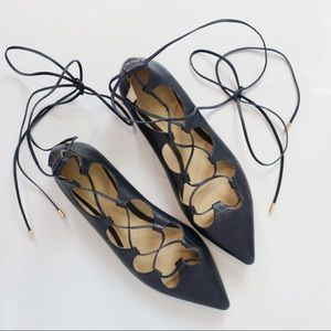 COACH Justine Flats Lace Up Ghillies Navy Leather